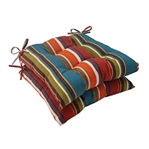 Pillow Perfect Indoor/Outdoor Westport Tufted Seat Cushion, Teal, Set of 2