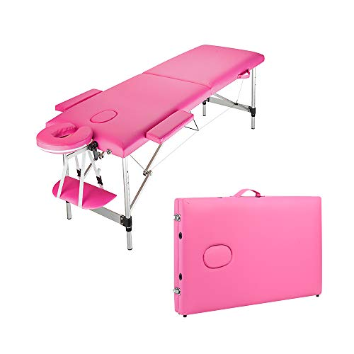 Massage Bed Portable Spa Salon Bed Facial Beauty Salon Tattoo Table 2 Fold Adjustable PVC Leather Massage Chair (Pink)
