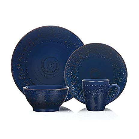 16 Piece Round Stoneware Dinnerware Set Distressed Dark Blue Lorren Home Trends  sc 1 st  Amazon.com & Amazon.com | 16 Piece Round Stoneware Dinnerware Set Distressed Dark ...