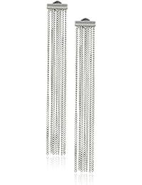 Sterling Silver Chain Tassel Drop Stud Earrings