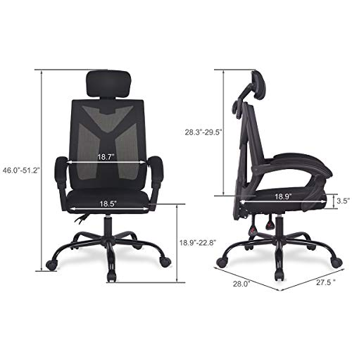 Ergonomic Home Office Desk Chair High-Back 150 Degree Reclining Swivel Mesh Computer Chair Gaming Chair with Lumbar Support Comfy Headrest and Armrest by UREST (Image #5)