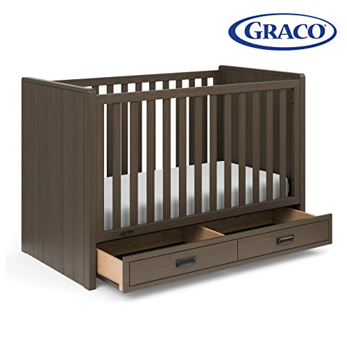 Stork Craft Graco Cottage 3-in-1 Convertible Crib with Drawer Slate Gray – Easily Converts to Toddler Bed and Daybed