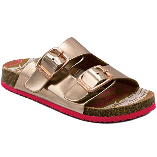 (Nautica Kids Grant Youth Open Toe Sandal 2 Buckle Straps Comfort Slide Outdoor Sport Casual Sandals-Rose Gold-3)