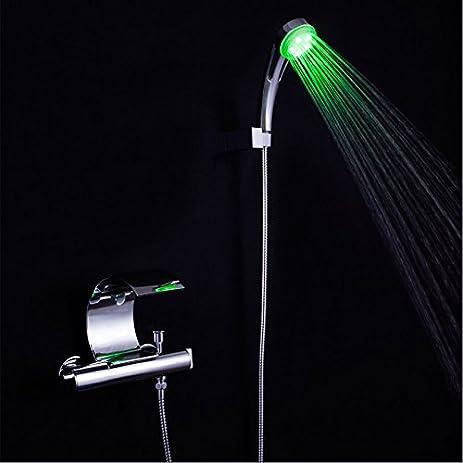 Homili Modern LED Bathroom Bath Tub Filler Wall Mounted Bathtub Faucet With  Hand Shower Set