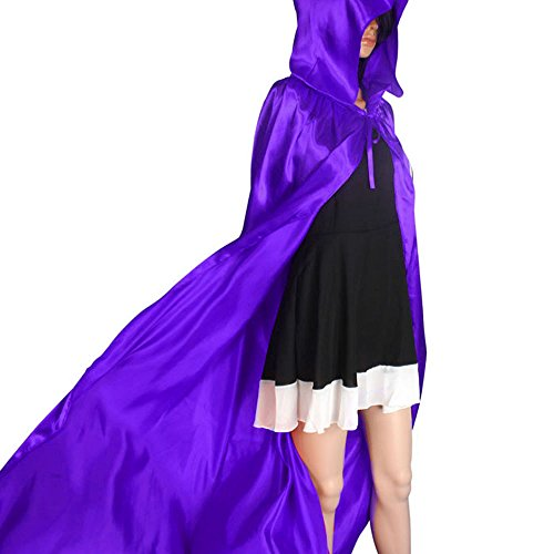 UONQD 1PC Hooded Cloak Coat Wicca Robe Medieval Cape Shawl Halloween Party (X-Large,Purple ) -