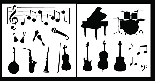 Auto Vynamics - STENCIL-MUSICSET01-10 - Detailed Musical Instruments Stencil Set - Features Rock & Band / Orchestra Instruments! - 10-by-10-inch Sheets - (2) Piece Kit - Pair of Sheets