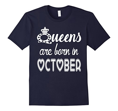 Queens Are Born In October T-Shirt 2XL Navy