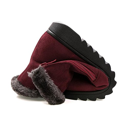 Caro Tempo Donne Inverno Caldo Pulsante Stivali Da Neve Cerniera Vino Rosso