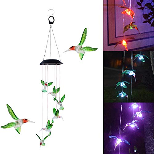 Alquar LED Solar Wind Chimes Outdoor, Six Hummingbird Color-Changing Solar Mobile Wind Chime Waterproof Solar Powered LED Hanging Lamp for Home, Party, Night Garden Decoration ()