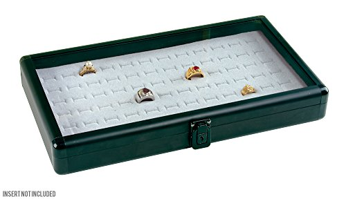 Caddy Bay Collection Matte Black Aluminum Jewelry Case with Glass Top and - Body Case Lock Jewelry