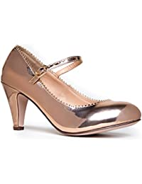 Mary Jane Kitten Heels - Vintage Retro Scallop Round Toe Shoe with an  Adjustable Strap - 1df902684