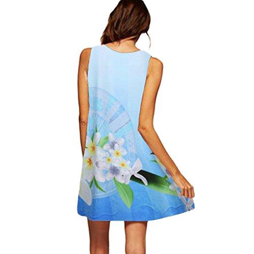 de Fiesta Estampado con Verano Falda Cuello Mujer Vestido Corto Elegante 2018 Sexy Fiesta Vestidos Casual Traje de redond Floral Vestidos Playa Largos Vestido EUZeo Bohemian Blanco❤️ 0Ozw5q