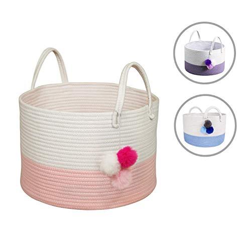 - Solaya Short Pink Cotton Rope Basket Storage 16