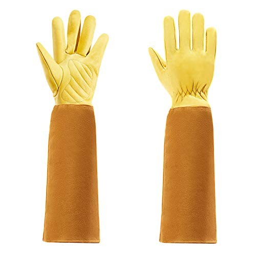 Quilence Men and Women Garden Gloves for Rose Pruning Thorn Proof Gardening Gloves Long Cow Leather Gloves with Eblow Gauntlet (Small)