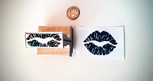 Stamp - kissy lips print, 1.75''x1.25'' (apx. lifesize) by Underdog Press