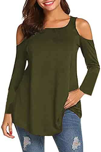 109841bcc0bcf Shusuen ☁ Fashion Women Casual Plus Size Blouse Solid Sexy Strapless Tops  Long Sleeve O-
