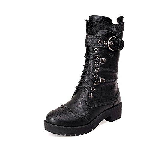 Boots Black Toe top Zipper Women's Heels Round Low Closed Soft Low Allhqfashion Material HfOPq