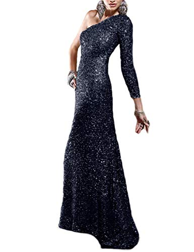 BEAUTBRIDE Women's One Shoulder Sequin Mermaid Evening Dress Long Sleeve Formal Prom Gown Navy Blue - One Sequin Blue Shoulder
