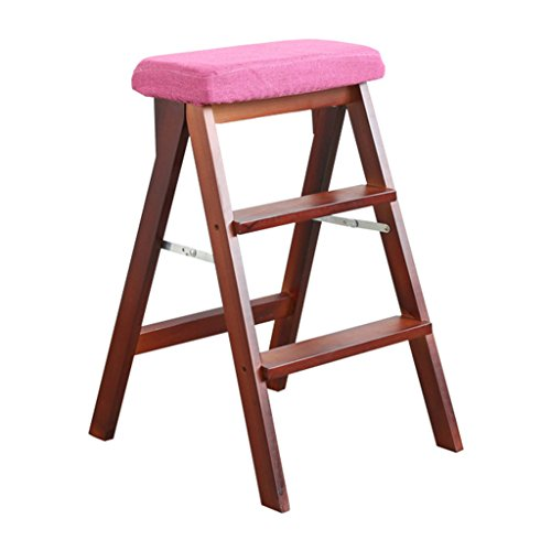 Zcxbhd Ladder Stool Solid Wood Folding Stool Portable Stool Multifunctional Step Stool High Bench Folding Chair for Household Kitchen (Color : 1)