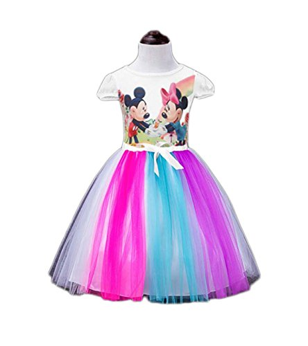 Janeyer Fancy Short Puff Sleeve Princess Mesh Bubble Lolita Shirt Dress Micky & Minne (White) 120cm / US 4Y-5Y Fairy Princess Short