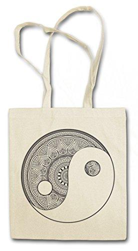 MANDALA YIN YANG Hipster Shopping Cotton Bag Cestas Bolsos Bolsas de la compra reutilizables �?Yantra Hinduism Buddhism Budismo Hinduismo Hindu Shiva Buddha Dharma Govinda Indien India Om