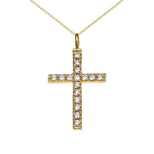 Collier Femme Pendentif Élégant 10 Ct Or Jaune Diamant Croix (Livré avec une 45cm Chaîne)