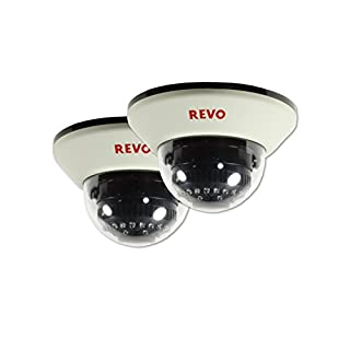 REVO America RCDS30-4BNDL2 1200 TVL Indoor Dome Surveillance Camera with 100-Feet Night Vision (White), 2-Pack