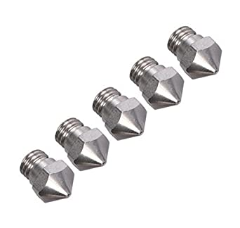 0.2mm, Pack of 5 BALITENSEN Wear-Resistant Stainless MK10 Extruder Nozzle 0.2mm M7 Thread for 3D Printer 1.75mm Filament ABS PLA