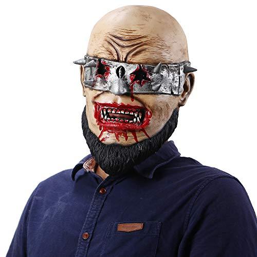 Jiu Ya Da Dui Halloween Horror Bloody Bearded Men's Mask Scary Wack Zombie Cosplay