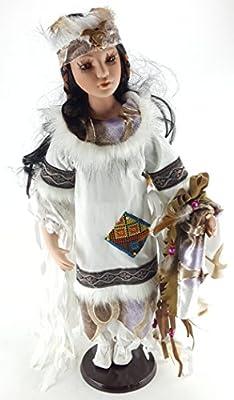 "Kinnex PRINCESS EAGLE 24"" Native American Dress Porcelain Collectible Doll D24655"