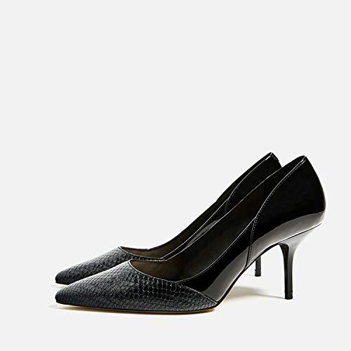 Dama Alto Con Estrecha Zapatos Profunda Mujer Yukun Black Boca Punta Poco Tacón Una De 7fx6Fwnq