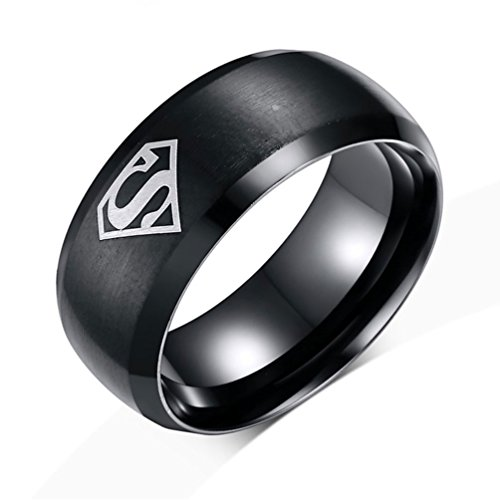 [LUXXY Cool Mens 8mm Black Superman 316l Stainless Steel Hero Boyfriend Rings] (The Real Batman Costume For Sale)