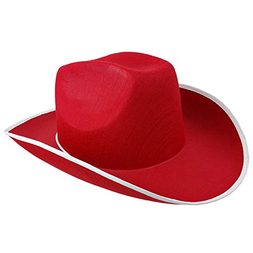 Cowboy Hats Red Adult Unisex Cowgirl Costume Role Play Hat By Funny Party Hats (Old West Outfit)