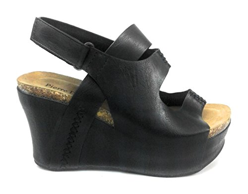 Pierre Dumas Women Low Wedge with an Adjustable Side bucklel It is Made from a Combination of Faux Suede and a Man Made Metallic Material. The Insole is Padded hester-10(22626) (11, Black) (Faux Suede Wedges Strappy)