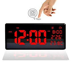 HJshenly LED Digital Alarm Clock, 9 Large Display Led Desk Clock, Wall Clock with Date, Temperature, Snooze