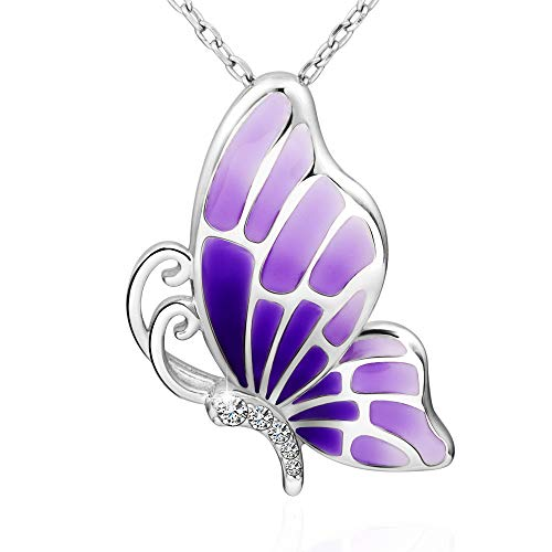 925 Sterling Silver Butterfly Pendant - Apotie 925 Sterling Silver Purple Butterfly Charm Pendant Necklace Gifts Jewelry Long Chain for Women …