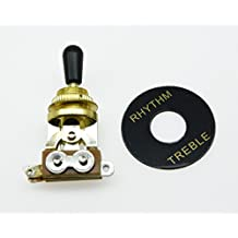 KAISH LP Guitar 3 Way Toggle Switch Gold with Black Tip and RHYTHM TREBLE Plate for Les Paul