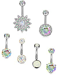 6Pcs 14G Belly Button Rings Stainless Steel Navel Rings CZ Body Jewelry Created-Opal Piercing