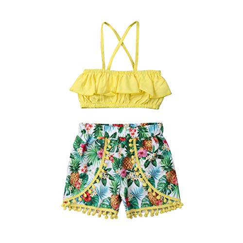 Toddler Girls Summer Short Set Halter Ruffle Top+Tassel Pineapple Pants Summer Clothes Outfit (1-2T) Yellow