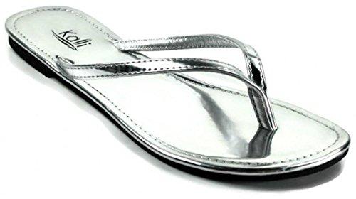 Silver Patent Leather Ladies Sandals - Kali Footwear Women's Twins Basic Patent Flat Thong Sandal Silver, 10