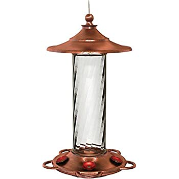 More Birds Hummingbird Feeder with 5 Feeding Stations, Glory Brushed Copper and Glass Hummingbird Feeder,  14-Ounce Hummingbird Nectar Capacity