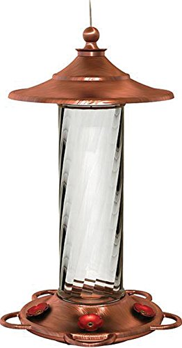 More Birds Hummingbird Feeder, Glass Hummingbird Feeders, Copper, 5 Feeding Stations, 14-Ounce Nectar Capacity, Glory