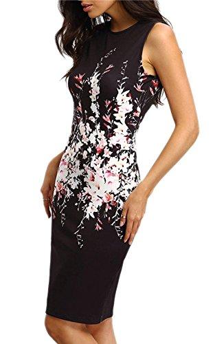Minetom Verano Vestido para Mujer de Estampado Flor Sin Mangas del Bodycon Dress de Fiesta Largos Negro