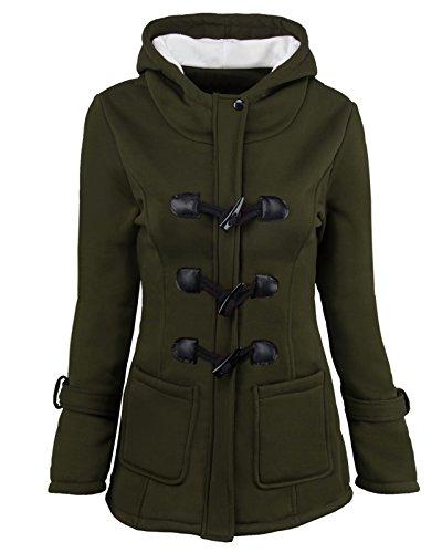 uffle Coat Jacket Top With Fleece Lined Hood Patch Pocket Cuffs Buffalo Horn Buttons Zipper Front Army Green XL ()