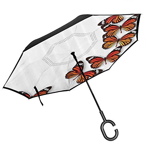 Double Layer Inverted Umbrella, with C-Shaped Handle, Outdoor Use Butterflies Decoration Monarch Butterfly Flying From Bottom Right Corner Insect Exotic Warm Weather