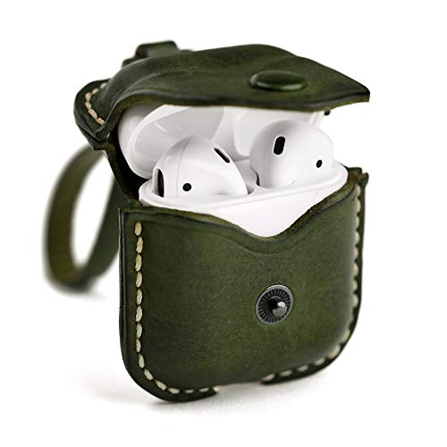 Shechane Leather Airpods Case Airpods Protective Case Cover Earbud Case Airpod Strap String Compatible with Apple Airpods and Airpods 2 Wireless Charging Case, Green