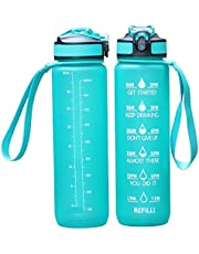 Water Bottle 1L / 32 oz with Motivational Time Marker Straw Strainer SK Plastic BPA Free Sport Water Bottles for Fitness Gym Office Outdoor Sports and Exercise | Leak Proof