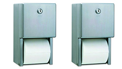 Bobrick B-2888 Classic Series Surface-Mounted Multi-Roll Toilet Tissue Dispenser, Satin (Pack of 2)