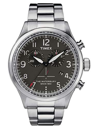 (Timex Mens Chronograph Quartz Watch with Stainless Steel Strap TW2R38400)