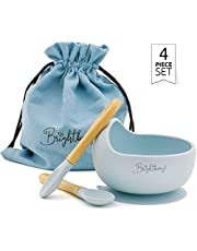 Baby & Toddler Suction Bowl with Two Baby Spoons and Carry Bag Gift Set. Blw Baby Feeding. BPA Free, Microwave & Dishwasher Safe Silicone Plates. Choose Your Colour (Blue)